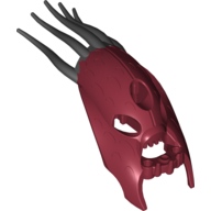 Dark Red Bionicle Head Barraki Kalmah with Marbled Black Pattern