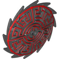 Black Bionicle Weapon Saw Blade Shield with Red Geometric Print