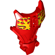 Red Hero Factory Full Torso Armor with Yellow Flames Print (Furno)