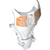 White Hero Factory Full Torso Armor with White and Orange Circuitry Print