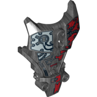 Pearl Dark Gray Hero Factory Full Torso Armor with Silver and Red Mechanical Print (Splitface)