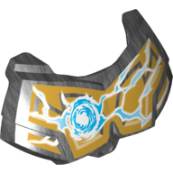 Pearl Dark Gray Hero Factory Chest Armor Small with Chi and Gold (Lion) Print