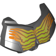 Black Hero Factory Chest Armor Small with Yellow and Orange Cracked Muscle Lines Print