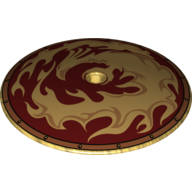 Pearl Gold Dish 9 x 9 Inverted (Radar) with Gold Phoenix and Flames Print