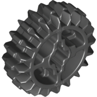 Black Technic Gear 20 Tooth Double Bevel with Axle Hole Type 1 [+ Opening]