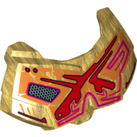 Pearl Gold Hero Factory Chest Armor Small with Red and Orange Print