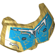 Pearl Gold Hero Factory Chest Armor Small with Dark Azure and Yellow Print (Gali)
