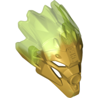 Pearl Gold Bionicle Mask of Jungle (Unity) with Marbled Trans-Bright Green Pattern