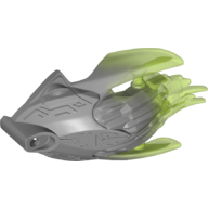 Flat Silver Bionicle Mask with Back with Marbled Trans-Bright Green Pattern