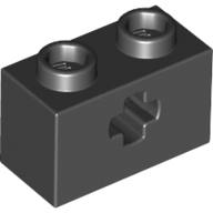 Black Technic Brick 1 x 2 with Axle Hole Type 1 [+ Opening] and Bottom Pin