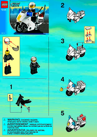 Police Motorcycle 7235 Lego City Police Building Instructions