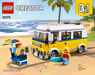 Sunshine Surfer Van 31079 Lego Creator Building Instructions