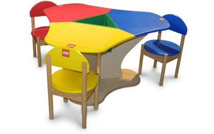 3 Seat Lego Table, Lego Table With Storage Triangle And 3 Chairs